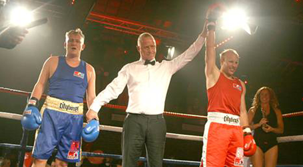 Paul Woods at the CRN Fight Night being announced the winner!