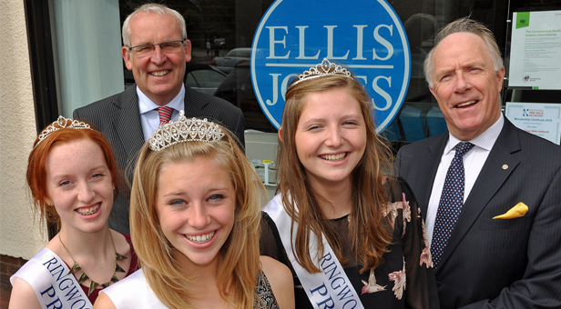 Carnival Queen Isabella Rix (front) with attendants Becky D'Arcy and Mabel Collins; Nigel Smith of Ellis Jones and Michael Lingam-Willgoss of Ringwood Carnival.