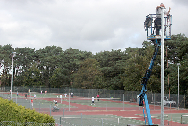 Floodlights go up at Ferndown Tennis Club