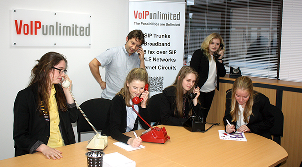 Students meet VoIP Unlimited's Mark Pillow for their first Enterprise and Skills Challenge strategy meeting