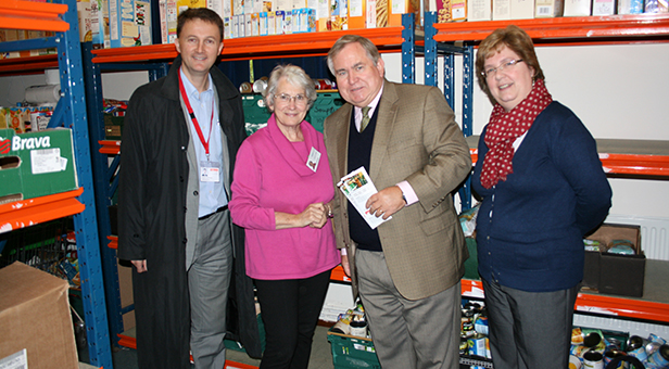 Alistair Doxet-Purser (CEO Faithworks Wessex), Jacquie Dakin (volunteer), Robert Walter MP and Gail del Pinto (Blandford Foodbank Manager)