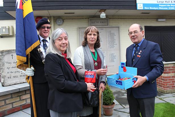Deputy Standard Bearer Zoe Major, Margaret Setchfield, the Deputy Mayor of Ferndown and Roy Setchfield