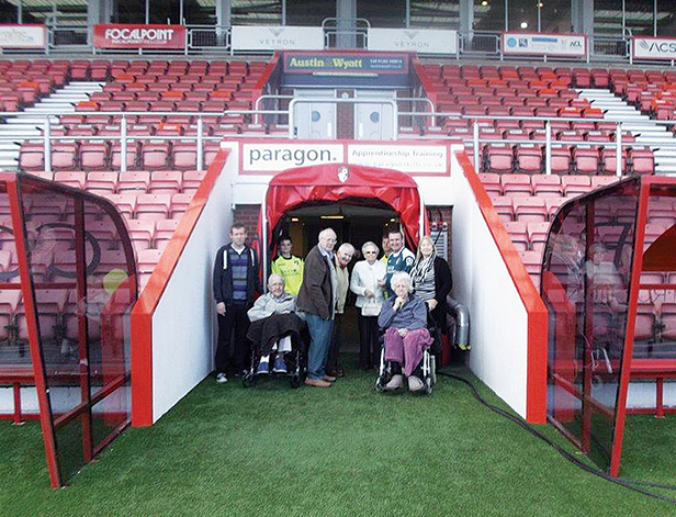 Residents from Care South's The Fearnes care home visit AFC Bournemouth's Goldsands Stadium