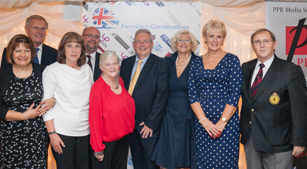 Ann Widdecome (in red) with some of the guests including the Master of Ceremonies Chris Chope MP (back left)