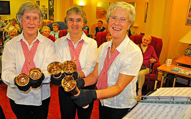 Handbell ringers from left: Jean Brown, Ann Tattersall and Viv Finch