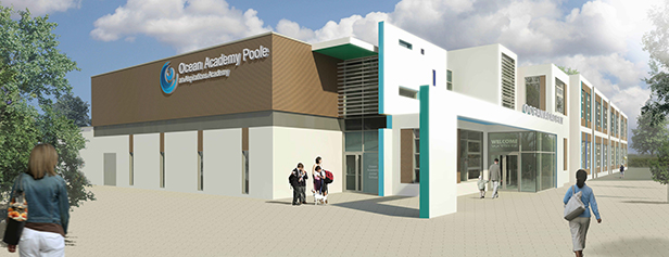 New junior school front entrance view
