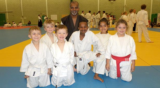 Isabella Gibson from Ferndown Ju-Jitsu Club in her group with Sensei Raj Soren 3rd Dan from Bradford Ju-Jitsu Club