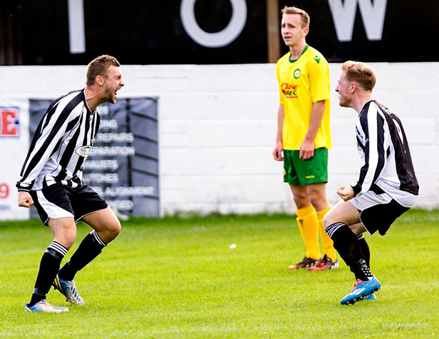 A memorable goal celebration from captain Scott Arnold and George Webb