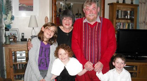 David and Margaret Waterland with their grandchildren