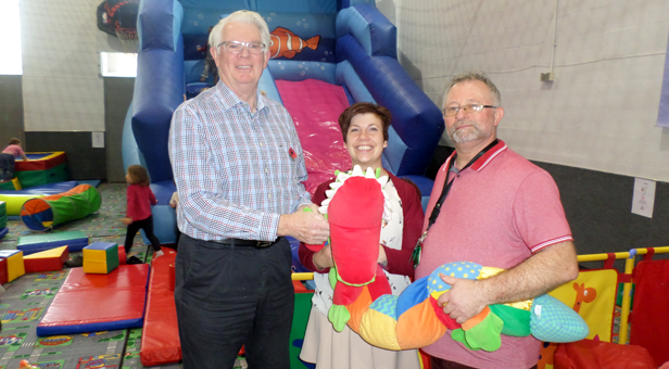 Dorset County Council Chairman Cllr John Wilson, Soft play Manger Lisa Guy and Soft play Chairman John Hanrahan.