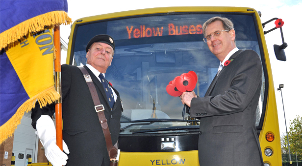 Paying tribute: Kevin Conroy of the Royal British Legion with Andrew Smith, Managing Director, Yellow Buses