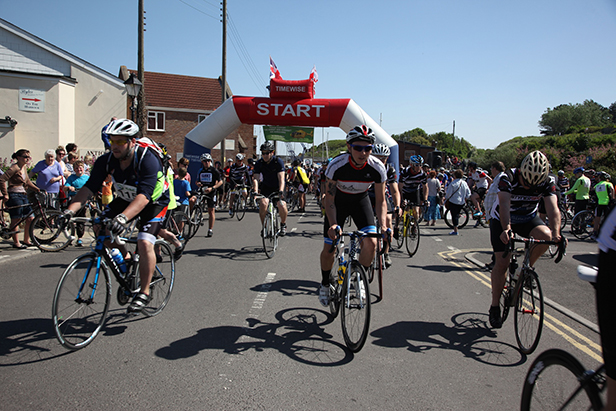 Cyclists start at Watchet Harbour