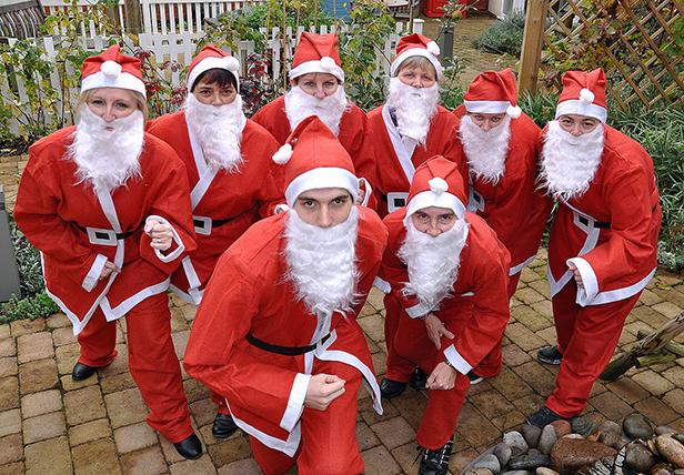 Staff at Colten Care's Newstone House prepare to take part in the second Santa Stride