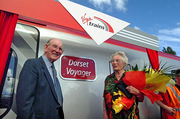 Moyra is seen naming the'Dorset Voyager' at Swanage in 2002