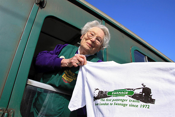 Moyra Cross with special commemorative t-shirt
