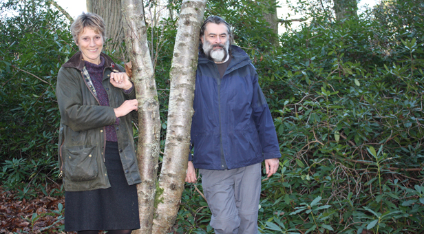 Cllr Xena Dion and Jez Martin at Arrowsmith Coppice. 