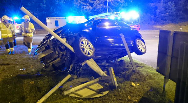 DON'T DRINK AND DRIVE: Vauxhall Corsa collides with lamppost, photograph courtesy of Ian Read of Dorset Fire and Rescue Service