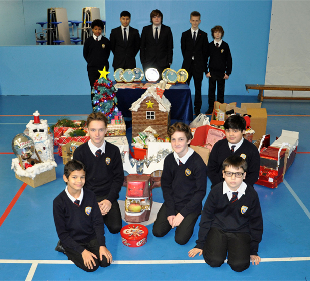 Boys at Bournemouth's Harewood College each year make hampers for the St Paul's homeless shelter in the town