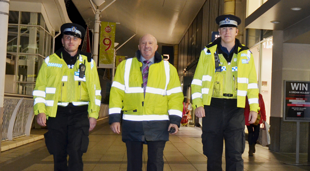 Bill Riddle (centre) patrols with PCSOs (left) Adam Lillywhite  and Phillip Robins.