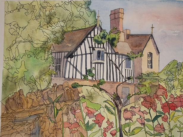 Rural Dorset stone cottage painting by Michael Jones