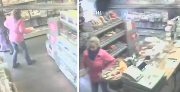CCTV still images: Samantha in The Sweet Shop in Corfe Castle on the morning of Wednesday 21 January