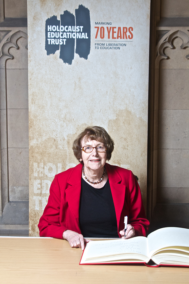 Annette Brooke MP signing the Holocaust Educational Trust Book of Commitment