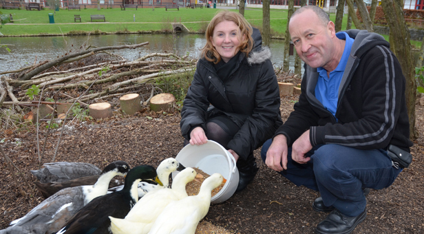 Feeding time for the hospital's ducks with Charlotte Sturmey and Paul Fox