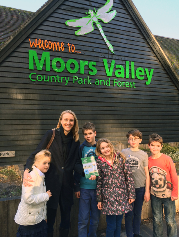 Paula Radcliffe with family and visitors at Moors Valley Country Park.