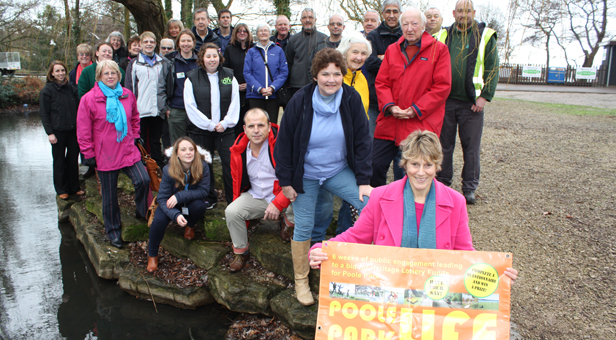 Representatives from Borough of Poole, Friends of Poole Park, Continental Landscapes Ltd and the Ark celebrating the news from the Heritage Lottery Fund.
