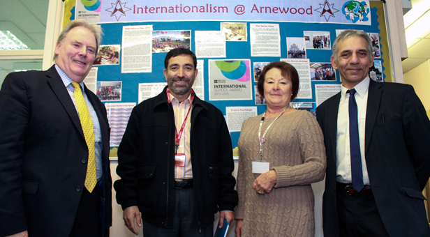 A visit of shared learning - Headteacher Hashim Ali (second left) was visiting The Arnewood School. Also in the photo (left to right) The Arnewood School's Headteacher Chris Hummerstone; Chair of Governors, Elizabeth Cook and Head of English Steve Mabert.