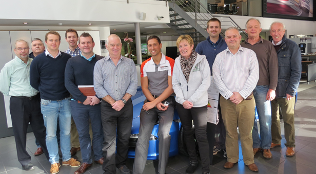 JTYAF Trustees and Ambassadors pictured with Karl Meyer (centre) from Porsche after their meeting which was hosted by Porsche Bournemouth