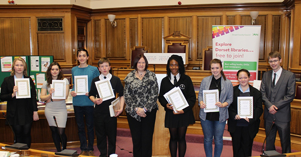 All the finalists with Cllr Toni Coombs and also Poet James Manlow