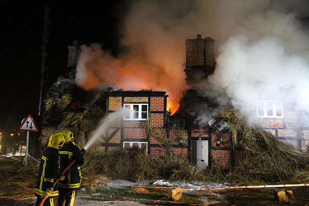 Thatch fire in Sopley