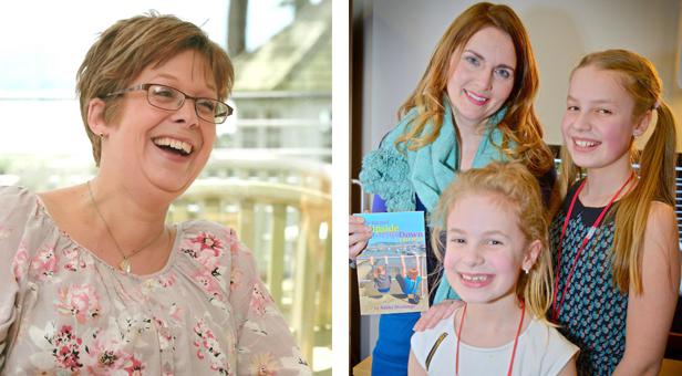 Nikki Hastings, Patron Debra Stephenson, who wrote the book's foreword, with Nikki's daughters Leah & Megan