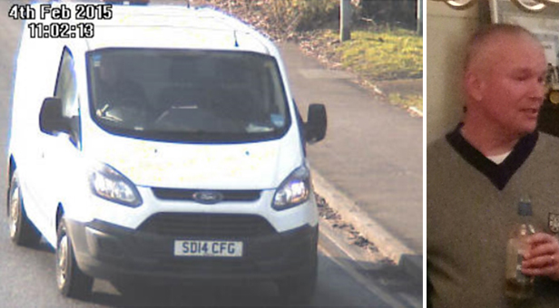 Alexander Angus' white Ford Transit van. Due to the quality of the picture police are unable to confirm whether Alexander is the driver