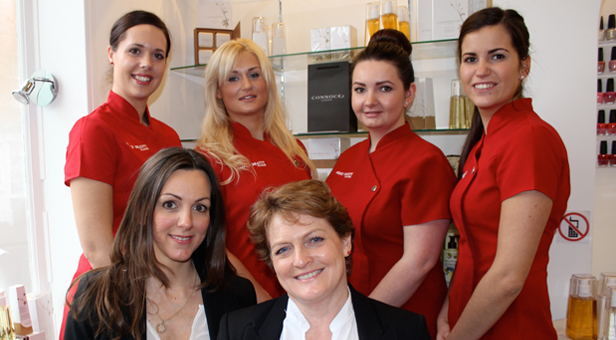 The team at Simply Beauty l-r Steph, Luci, Kate and Beth. Front: Amanda Connock and Alison Smith