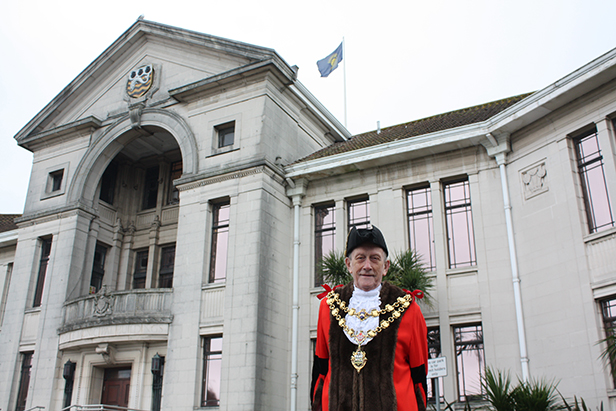 The Mayor outside the Civic Centre after the flag was raised
