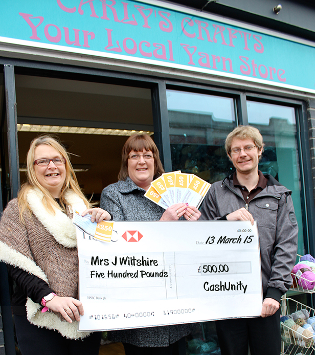 CashUnity cheque presentation at Carly's Crafts, Winton