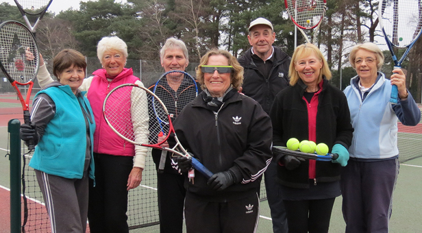 Ferndown Tennis Club members waiting for the solar eclipse