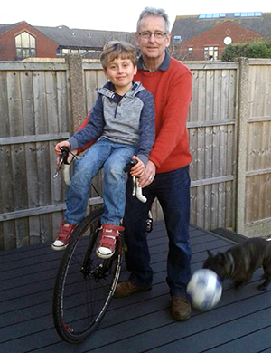 Chris Thomas with Harry getting ready to ride for autism