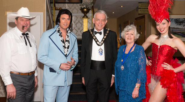Robin and Sue Cook with 'Elvis', Col Parker and Josie