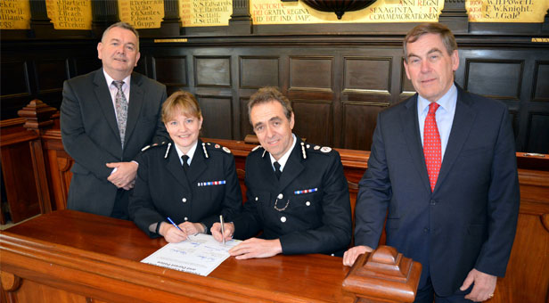 PCC Martyn Underhill, Chief Constable Debbie Simpson, Chief Constable Shaun Sawyer and PCC Tony Hogg. (left to right)