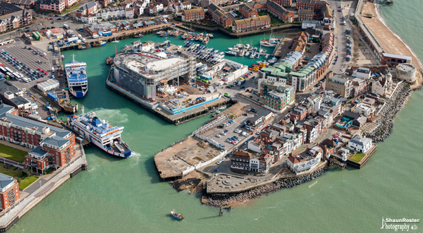 Aerial photo of Ben Ainslie Racing team base in Portsmouth by Shaun Roster.