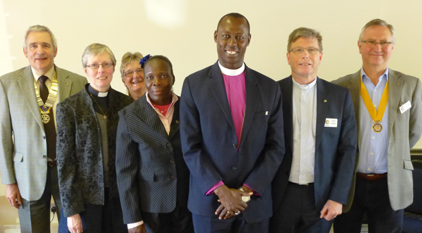Bishop Samuel and his wife Sentina (centre) with (left to right) Rotary President Derek Radley; the Rev Vanessa Herrick, Rector of Wimborne Minster; Sheila Soper, who recently visited South Sudan; Chris Tebbutt, Rector of Canford Magna and Rural Dean of Wimborne; and Rotary President Elect Alan Griffiths.