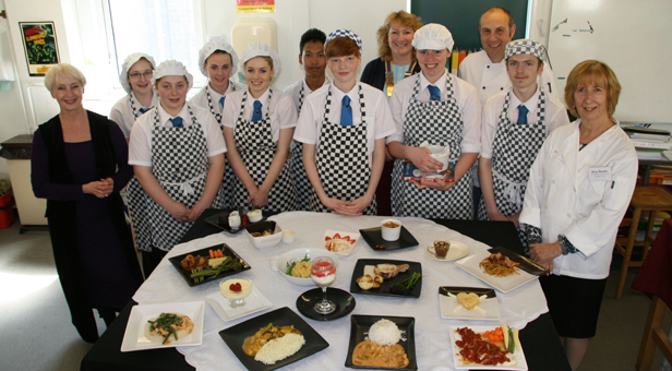 Grange School students who took part along with judges Lesley Waters, Colette Neaum from Christchurch Rotary, chef Ian Hewitt and Mary Reader, President of  the Food Festival.
