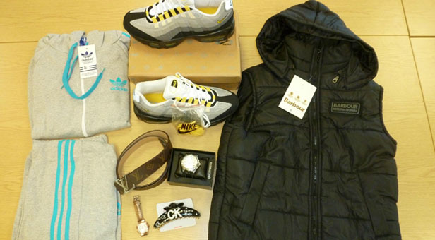 The type of goods involved ie Adidas tracksuit, Nike training shoes, Barbour gillet, Louis Vuitton belt, Calvin Klein hairclip, Gucci watch and Louis Vuitton ladies watch.
