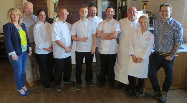 FINALISTS WITH THE JUDGES L-R Vicki Hallam and Tim Lloyd from the Food Festival Committee; Liz Farrow from Bournemouth & Poole College; Luke Matthews from Chewton Glen; the finalists Adam Hart, Luke Phillips, Craig McColm; David Boland from Bournemouth & Poole College; Sarah Howard from the Royal Academy of Culinary Arts; James Golding from The Pig