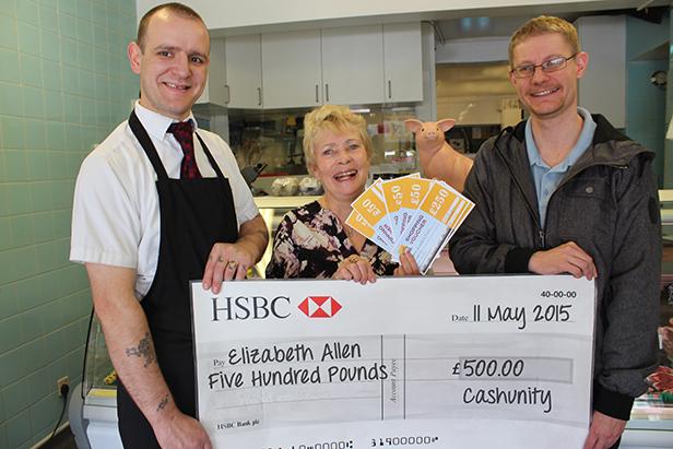 CashUnity winner Elizabeth Allen at the cheque presentation