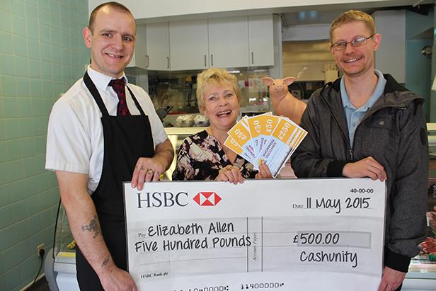 CashUnity winner Elizabeth Allen at the cheque presentation