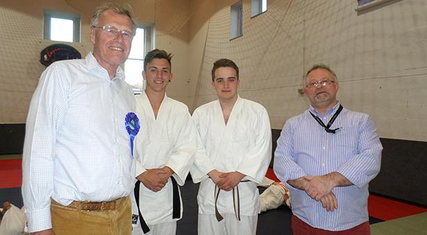 Chris Chope MP, Sensei's Olli Preston, Jordan Lea and Hatamoto John Hanrahan
